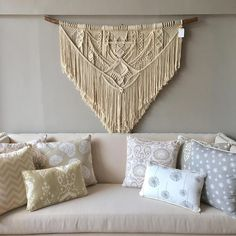 **This piece has sold** If you purchase this listing, you are placing a custom order for a replica. Please keep in mind that your end product might differ slightly from the images above. Size is approximately: Driftwood: 150 cm (59) Macrame length: 140 cm (55) Material: Cotton rope,