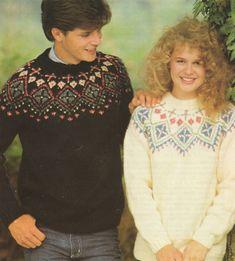 PDF Ladies or Mens Fair Isle Yoke Sweater by PDFKnittingCrochet