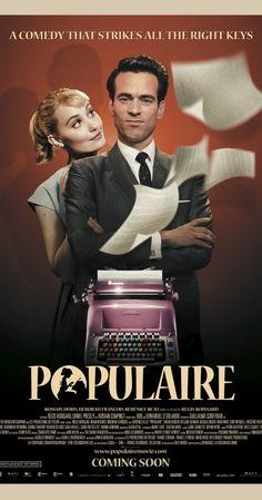 Populaire in US theaters September 2013 starring Romain Duris, Deborah Francois, Berenice Bejo. Spring, Rose Pamphyle lives with her grouchy widower father who runs the village store. Engaged to the son of the local me Movies And Series, Movies And Tv Shows, Great Films, Good Movies, Film Movie, French Romance, French Movies, Movies To Watch, Movies Online