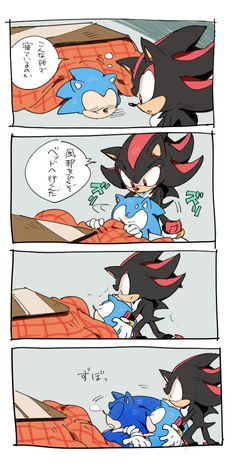 Shadow:*as hes pulling classic sonic out* c'mon, dude, stop hogging the- O.o' Sonic(modern):ZZZzzzZZZZ....amy.... Shadow: ...uhh, okay?