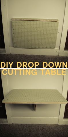 DIY Cutting Table made from a IKEA wall mounted drop down table that costs only $29.99, the Norbo. then just glued a self-healing cutting mat on it. I have to have this for my sewing room re-do