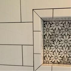 Abolos Carrara White Flower x Marble Mosaic Tile Marble Mosaic, Mosaic Wall, Mosaic Tiles, Stone Mosaic Tile, Glass Tiles, Carrara, Small Showers, Shower Remodel, Remodel Bathroom