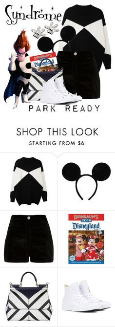 """""""Syndrome: Park Ready"""" by laniocracy ❤ liked on Polyvore featuring Disney, River Island, Dolce&Gabbana, Converse and disneyland"""