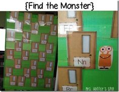 """My FAVE thing from this entire unit! I didn't have a pocket chart at home. You print off all the doors. Put the monsters behind two of them. The students have to say the """"Name"""" of the door to see if the monster is hiding behind that door! Fall Preschool, Kindergarten Activities, Preschool Games, Alphabet Activities, Literacy Activities, Literacy Stations, Abc Phonics, Student Drawing, Abc Games"""