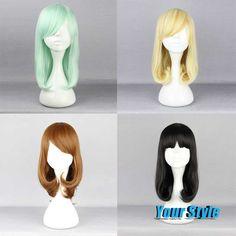 42cm Best Natural Looking Hair Wigs Hairstyles Medium Length Hair Haircuts GreenBlondeBrownBlack Anime Lolita Wigs Cosplay