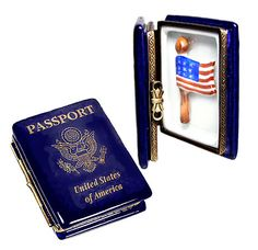U S Passport / flag inside ~ Limoges box