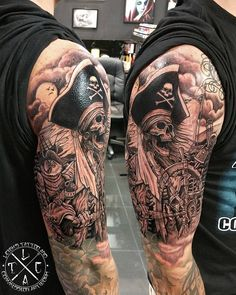 "462 Likes, 17 Comments - Leighstca (@leigh_tattoos) on Instagram: ""Pirate skull captain www.facebook.com/leighstca @leigh_tattoos @loco_tattoo  #locotattoo #robina…"""