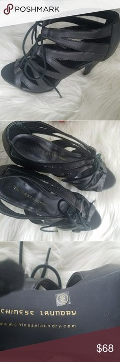 Black heels Strappy and tie black chinese laundry heels. Barely worn. Chinese Laundry Shoes Heels