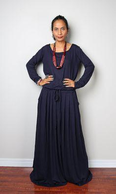 Navy Blue Maxi Dress  Dark Blue Long Sleeve Dress : by Nuichan