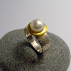 Martellato Hammered Pearl Ring – Unio Goldsmith Pearl Ring, Pearl Jewelry, Gemstone Rings, Wedding Rings, Engagement Rings, Pearls, Band, Diamond, Silver