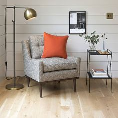A pop of color that anchors a room as well as any neutral, this tangerine-hued limited-edition wool pillow is sewn by hand in our Portland factory. Generously sized and extra durable, you can throw this one anywhere that needs an extra bit of brightness and cheer. Features a brass YKK zipper and down-filled insert. A Schoolhouse Electric Original. We fused the arcing lines of a Scandinavian classic with handcrafted, vintage-inspired materials to create this Schoolhouse Electric Original. A…