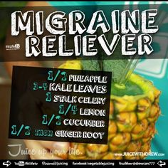 Headaches much? Here is an awesome (and delicious!) juice smoothie recipe: The Migraine Reliever Smoothie
