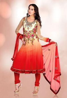 Gravity Fashion - Attractive Beige Brown & Coral Salwar Kameez