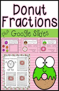 Donut Fractions for First GradeProject (cut and paste)Digital Slides Summer School Activities, September Activities, First Grade Activities, Valentines Day Activities, Spring Activities, Classroom Activities, Classroom Ideas, First Grade Projects, Math Projects