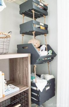 Simple Hanging Closet Storage Crates with Rope Table and Hearth is part of Nursery baby room - Use that vertical space by making these super simple Hanging Closet Storage Crates with rope! Plenty of storage in less than an hour of work! Hanging Closet Storage, Kids Closet Storage, Kids Playroom Storage, Children Storage, Baby Playroom, Playroom Design, Small Nurseries, Creative Storage, Creative Ideas