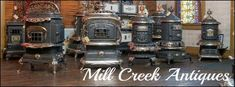 Mill Creek Antiques - Paxico, Kansas- my dad used to co-own this shop! Wood Burning Furnace, Wood Stove Cooking, What's Cooking, Restore Wood, Aladdin Lamp, Antique Stove, Pellet Stove, Mill Creek, Victorian Furniture