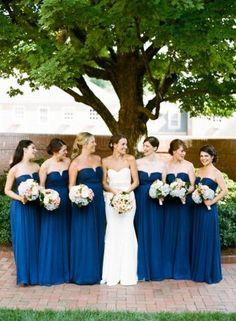 Strapless Snorkel Blue Bridesmaid Dresses