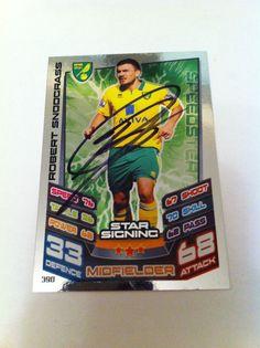 Robert Snodgrass Norwich Footballer Signed Match Attax Trading Card/autograph
