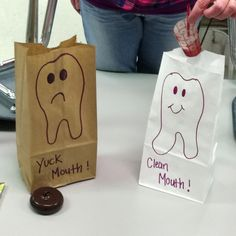 Yuck mouth brown bag and clean mouth white bag. Kiddos place play food or pics i… Yuck mouth brown bag and clean mouth white bag. Kiddos place play food or pics in correct bag