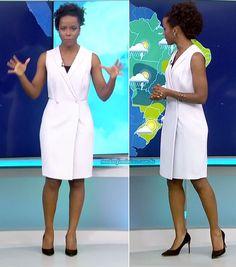 Vestido branco envelope, Maju Coutinho – Chic Home Office Design Skirt Outfits, Cute Outfits, Sara Fashion, Corporate Uniforms, Nice Dresses, Dresses For Work, Office Looks, Work Looks, Blazer Dress