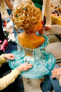 Emilia preps backstage at the Southern Celebrity Beauty Pageant in Charleston, West Virginia.