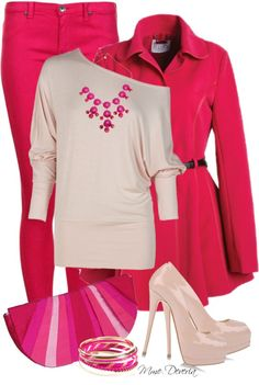 """""""Think pink #2"""" by madamedeveria on Polyvore"""