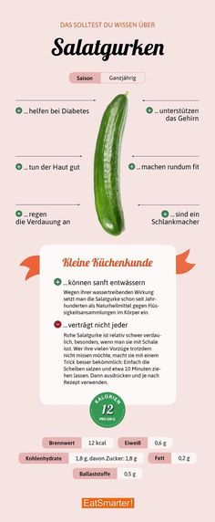 Das solltest du über Salatgurken wissen   eatsmarter.de #infografik #ernährung #salatgurke #gurke