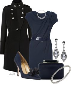 For the Classic/Romantic Personalities! x  Navy with Black by christa72 on Polyvore