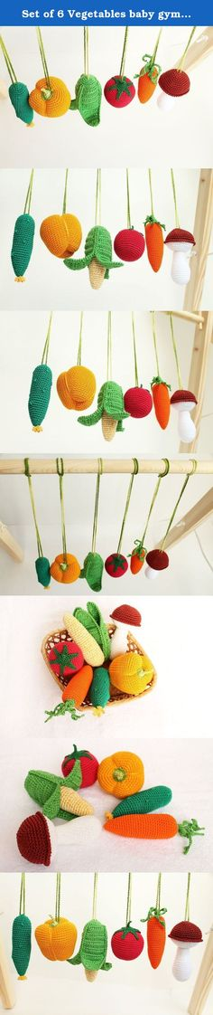 Set of 6 Vegetables baby gym toys, New Born Gift, activity gym toy, shower gift, baby rattle, crochet veggies, pretend food, hanging toys. Our vegetable set of baby gym toys is made to entertain your baby and encourage important development skills. Your baby will get so much joy from the sensations, sounds and visual delights these fruits give. ♥ The eye-catching six colorful vegetables - a tomato, a corn, a mushroom, a cucumber, a carrot and a pepper - will capture your baby's attention…