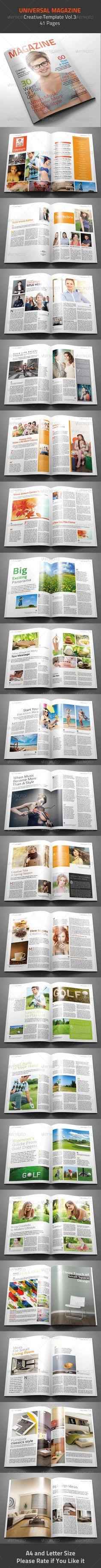 Universal Magazine Template InDesign INDD. Download here : http://graphicriver.net/item/universal-magazine-template/4793470?s_rank=1772&ref=yinkira