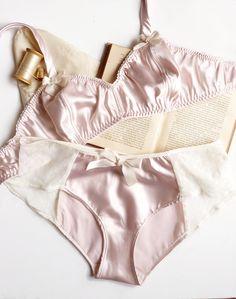 Ballet Pink Satin Soft Bra & Panties Set.