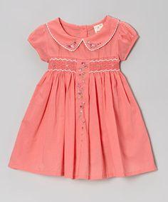 Coral Floral Vine Peter Pan Smocked Dress - Girls