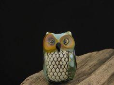 Lovey.... lampwork owl bead.. sra by DeniseAnnette on Etsy, $27.00