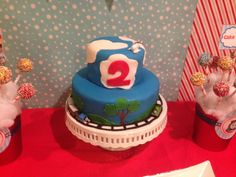 Thomas the train 2nd Birthday 2 layer cake