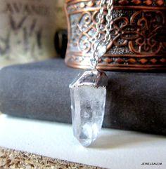 Quartz Necklace Clear Crystal Geode Gemstone Transparent Arrow Head Silver Long Chunky Cubic Pendant Raw Natural Simple Minimalist Modern