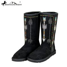Montana West Arrow Embroidered Studs Boots Black Cowgirl Western Winter Size 10 #MontanaWest #CowboyWestern