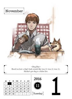 November 1, 2016  We've entered a new month in the year and it starts off with Hirako and his beloved pet Shiba Inu.