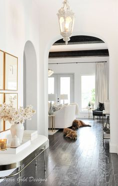 entry arches view living room transitional style  #winterdecor #winterdecorating #entry #entryhall #entryway