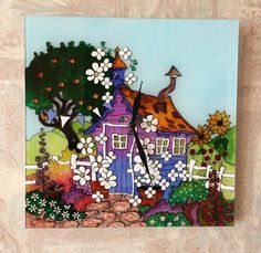 Stained glass wall clock, Hand painted clock, Nursery Decor, Stained glass windows, Unique wall clock, Children clock Original and unique hand painted glass clock The Blossoming Yard are made on the basis of glass in the stained glass technique. The effectiveness of this product is achieved