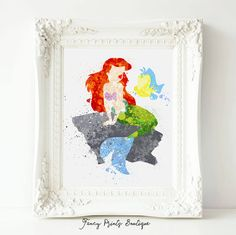 Little Mermaid Ariel Disney Princess Print by FancyPrintsBoutique
