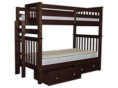 Bedz King Tall Mission Style Bunk Bed Twin over Twin with End Ladder and 2 Under Bed Drawers Cappuccino * Want additional info? Click on the image. (This is an affiliate link)