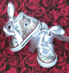 84478e183e3 Baby girl converse blinged out with swarovski crystals. Toddler high top white  converse WWW.