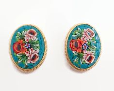 Vintage micro mosaic earrings with bouquets of flowers, made in Italy by CardCurios on Etsy Screw Back Earrings, Mosaic Patterns, Carat Gold, Vintage Earrings, Colorful Backgrounds, Bouquets, Beaded Necklace, Stamp, Bouquet