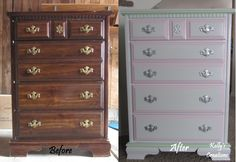 Young girl's dresser before and after. Refinished by Kelly's Creations. http://www.facebook.com/pages/Kellys-Creations/524028237619793