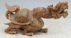"10"" Chinese Old Jade Sea Dragon Turtle Tortoise Longevity Handwork Carve Statue"