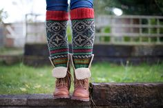 Knee high black knitted socks with Scandinavian ornaments for unisex adults. $74.00, via Etsy.