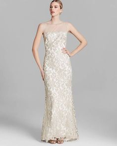 Tadashi Shoji Illusion Yoke Embroidered Lace Gown Dress Ivory 8 New #TadashiShoji #Gown #Formal