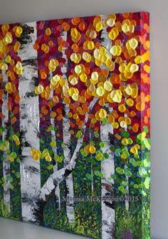 Aspen tree art painting, Birch Tree Painting, Birch Tree Art, Art of Alberta, We. Aspen tree art p Fall Canvas Painting, Autumn Painting, Autumn Art, Autumn Trees, Canvas Art, Fall Leaves, Painting Abstract, Acrylic Paintings, Acrylic Art