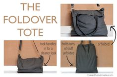 Foldover Tote Sewing Tutorial from the sewingrabbit.com; especially recommended for use as a library tote.