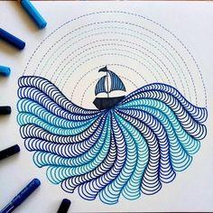 Doodle Art Drawing, Zentangle Drawings, Mandala Drawing, Zentangle Patterns, Zen Doodle Patterns, Art Patterns, Mandala Doodle, Mandala Art Lesson, Art Drawings Sketches Simple